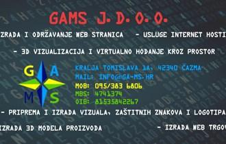 Izrada web stranica, logotipa i usluge hostinga - GAMS j.d.o.o., Čazma