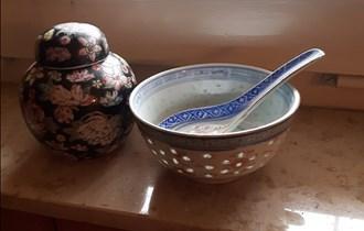 Stare ukrasne posude, komplet, fini kineski porculan, ručno oslikane
