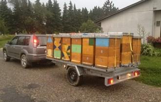 Auto prikolica i postolje za pčele