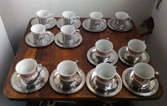 2 porculanska seta za kavu s inox tanjurićima