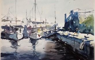 "Slika, akvarel \""pristanište\"""