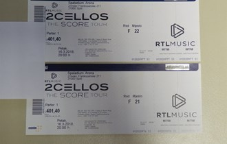2 Cellos, Split 16.3.2018 - 2 karte / parter 1