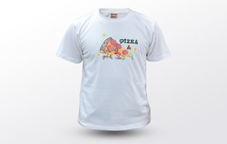 Pizza and good vibes, Muška dječja majica, 100% pamuk, print na majice, tisak na majice