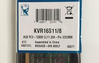 RAM (Memorija) 8GB 1600Mhz DDR3L SO-DIMM Kingston