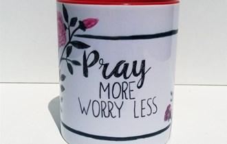Krščanski Pokolon Pray More Worry Less Šalica, 330ml, otporna na perilicu posuđa i mikrovalnu, print na šalice, tisak na salice
