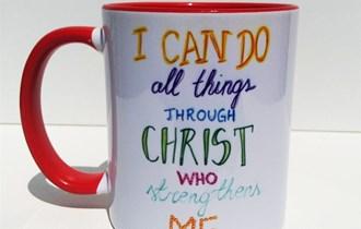Krščanski Pokolon I Can Do All Things Trough Christ Šalica, 330ml, otporna na perilicu posuđa i mikrovalnu, print na šalice, tisak na salice