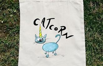 Catcorn Plava Mačka Jednorog pamučni ceker, 100% pamuk