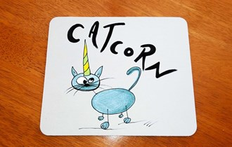 Catcorn Plava Mačka Jednorog podloga za miš, print na podloge za miš, personalizirani poklon