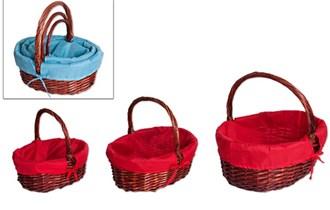 Košare pletene ovalne 3/1 s drškama i platnom u boji 45+36+30 cm natur