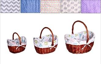 Košare pletene ovalne 3/1 s drškama i platnom 38+30+25 cm natur