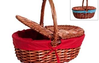 Košara pletena ovalna s drškom, platnom u boji i poklopima 37x25x15 cm natur