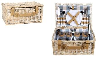 Pletena košara za piknik s tanjurima, čašama i priborom