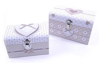 Poklon kutije škrinjice 2/1 dekor srca 16 + 20 cm