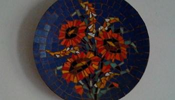 """keramički tanjur \"""" cveće u  vazi \"""""""