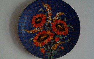 keramički tanjur  cveće