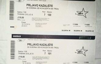 Prodajem dvije karte za prvi koncert Prljavog kazališta (tribina dolje B)