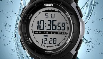 SKMEI 1025 Männer Sportuhr 5ATM Tauchen Schwimmen Klettern LED Digital Outdoor