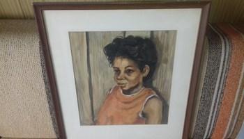 Charles R. Searles - Portret Charmaine Searles, akvarel , potpisan