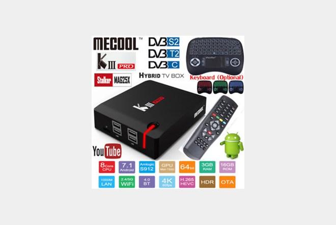 Mecool Kiii Pro UHD Android TV BOX + DVB-T/T2 DVB-C DVB-S/S2