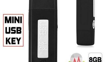 Diktafon, Mini, USB key, 8 GB, 96 sati snimanja, priskuškivanje -NOVO!