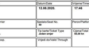 Autobusne karte Malinska Zagreb prodajem 60 kn za 12.8. s rezervacijom