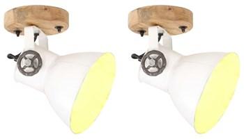 Industrijske zidne/stropne svjetiljke 2 kom bijele 20x25 cm E27 - NOVO
