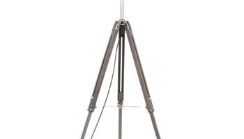 Podna svjetiljka s tronošcem sivo-bijela od tikovine 141 cm - NOVO