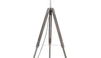 Podna svjetiljka s tronošcem sivo-crna masivna tikovina 141 cm - NOVO
