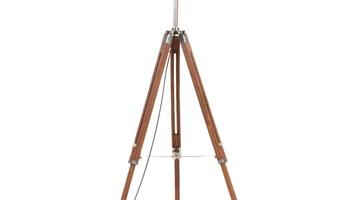 Podna svjetiljka s tronošcem medeno-bijela od tikovine 141 cm - NOVO