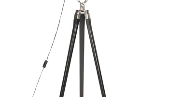 Podna svjetiljka s tronošcem crna od masivnog drva manga 97 cm - NOVO