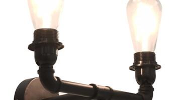 Dvosmjerna zidna svjetiljka crna 2 x žarulja E27 - NOVO