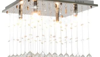 Stropna svjetiljka s kristalnim perlama srebrna kockasta G9 - NOVO