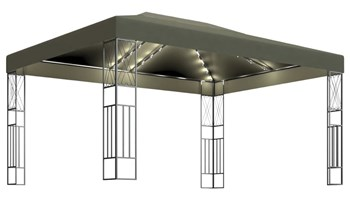Sjenica sa svjetlosnim trakama 3 x 4 m smeđe-siva od tkanine - NOVO