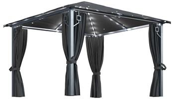 Sjenica sa zastorima i svjetlima 300x300 cm antracit aluminij - NOVO