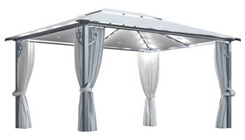 Sjenica sa zastorima i svjetlima 400 x 300 cm krem aluminijska - NOVO