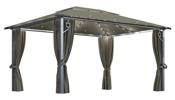 Sjenica sa zastorima i svjetlima 400x300 cm smeđe-siva aluminij - NOVO