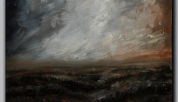 Oblaci usred oluje - Ulje na platnu - apstraktni pejzaž - mračno polje