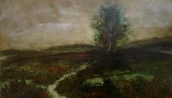 Staza u tamnom pejzažu - ulje na platnu - drvo - moderna umjetnost