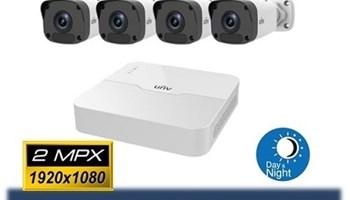 Komplet - 4 Uniview 2mpx kamere za video nadzor + snimač i hard
