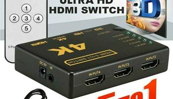 TV razdjelnik sa 5 HDMI ulaza na 1TV 4K 1080P sa daljinskim