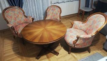 Bidermaer fotelje i stol