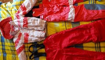 Skafander za snijeg dijevojčice br 122 boja svijetlo i tamno ružičasta,crvene hlače donji dio skafandera br 116-122 GRATIS