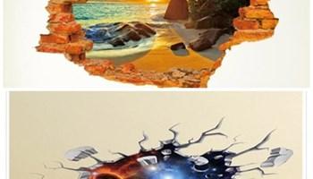 Naljepnice (3D), zalazak sunca, za zid, plafon, pod, namještaj, novo!