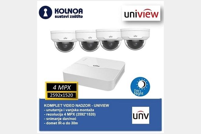 Komplet - 4 Uniview 4mpx kamere za video nadzor + snimač i hard